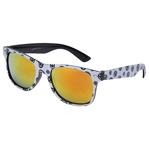 Ciffre Sonnenbrille Nerdbrille Nerd Retro Look Brille Pilotenbrille Vintage Look - ca. 80 verschiedene Modelle Viele Farben (Smiley-Feuer)
