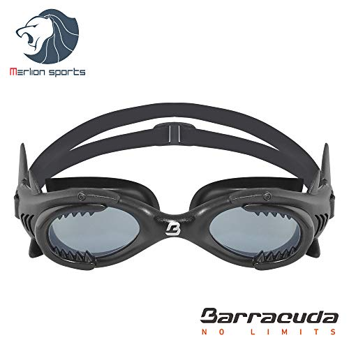Barracuda Junior Swim Goggle Shark - One-Piece Frame Soft Seals, Anti-Fog UV Protection, Easy Adjusting Comfortable Quick Fit No Leaking for Kids Children Ages 4-12 IE-13020 (Gray/Black) -