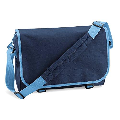 BagBase Unisex Messenger Bag Umhangetasche 38x30x12cm 11L Freizeit French Navy/ Sky Blue