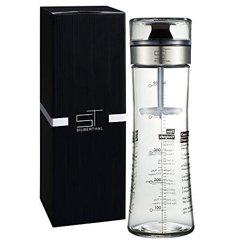 SILBERTHAL Dressingshaker mit Rezepten | Dressing Mixer und Dressingbehälter aus Glas | Spülmaschinenfest | 500 ml Füllmenge