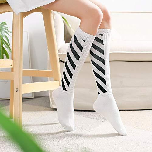 Gperw Frauen Beinwärmer Kurze Stiefel Socke Home Frühling und Herbst Schlanke Fußballsocken Lange Socken mit Rundstrumpf Strümpfe Jungen und Mädchen Schüler Japanische Baseball-Baumwollstreifen