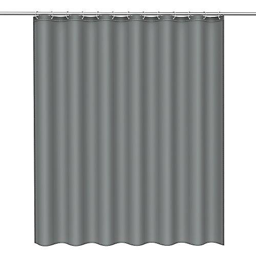 Htovila Duschvorhang Wasserdicht Anti-Schimmel mit 12 Duschvorhangringe aus Polyester, 180 x 180 cm in versch. Muster (Grau) (Grau Duschvorhang In)
