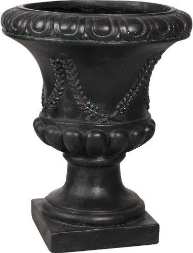 Vase antique en fibre de verre noir 31x31x37cm