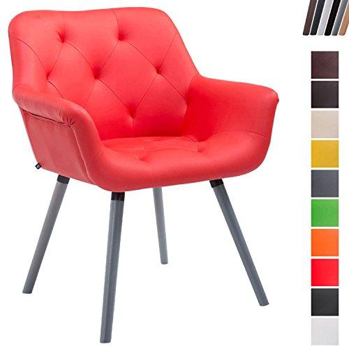 Clp sedia poltroncina cassidy con fodera in similpelle - sedia ospite rétro, gambe in legno - sedia poltroncina sala attesa imbottita e con braccioli rosso base legno color grigio