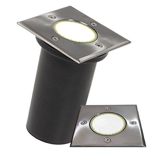 LED Bodeneinbaustrahler Edelstahl Gartenstrahler Bodenleuchte IP67 GU10-230V Quadratisch (Warmweiß)