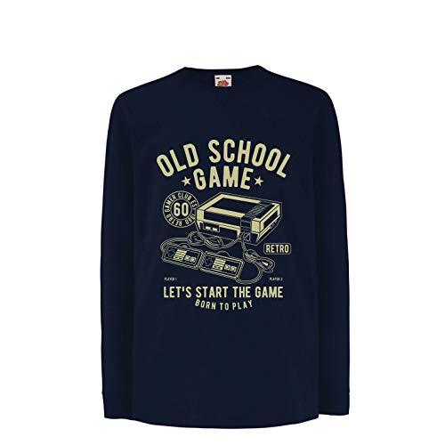 (lepni.me Kinder-T-Shirt mit Langen Ärmeln Born to Play - Retro-Spiel, Geschenke für Videospieler (14-15 Years Blau Mehrfarben))