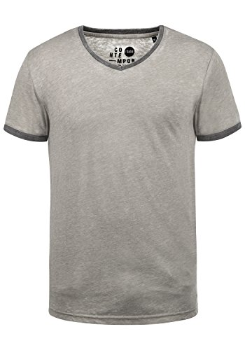 !Solid Thelo Herren T-Shirt Kurzarm Shirt Mit V-Ausschnitt, Größe:XL, Farbe:Mid Grey (2842) -