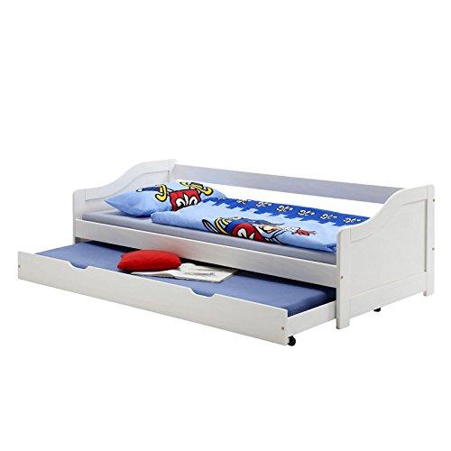 Funktionsbett LISA Funktionsliege Jugendbett mit Bettkasten Kiefer weiß 90 x 200 cm (B x L) mit 2 Lattenroste