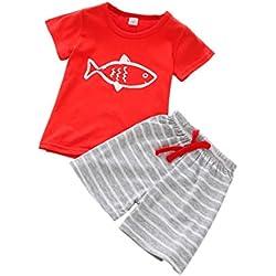 Oyedens Shorts Et Haut Ensemble Garcon Mode Infantile Enfant Vetement Bébé Garçon Ete Pas Cher Outfit Manteau Garçon Sport Chemise Sweat T-Shirt Tops + Shorts Pantalons 0-5 Ans (Rouge, 1-2 Ans)