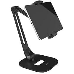 Support pour tablette ZenCT, support pour tablette de bureau avec base lourde et bras en métal à 2 niveaux, pour tablettes de 7 à 10,1 pouces, lecteurs E-L et Smartphones (noir)