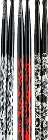 Tama 5A 3-Pack (5A ek-fb-BS) Red/Silver Fires Skull S 5A FB CD-R 5A-S Bacchette