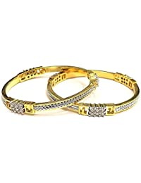 S&S Fashion Jewellery FLawless American Diamond Bracelet Bangles Kangan For Women And Girls Set Of 2 Pcs