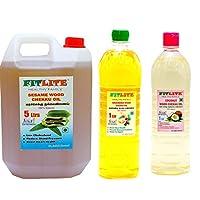FITLITE Combo Mega Pack Sesame Chekku Oil 5 LTR + Groundnut Chekku Oil 1 LTR + Coconut Chekku Oil 1 LTR