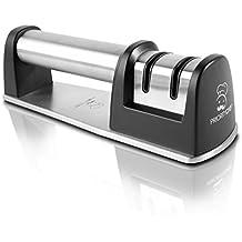 PriorityChef Messerschärfer für Messer normalen Klingen und Wellenschliffklingen, 2-stufig, diamantbeschichtete Schleifscheibe, Schwarz