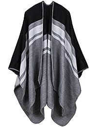 Idopy Mantón de manta del cabo Poncho reversible simple para mujer