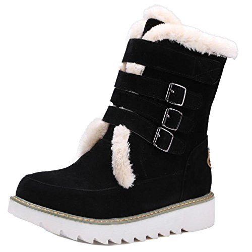 COOLCEPT Damen Winter Warm Artificial Warme Gefüttert Stiefeletten Winter Schuhe Schwarz