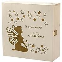 Preisvergleich für polar-effekt Kramkiste 25 x 25 cm als Geschenk für Mädchen - Holzbox mit Gravur - Motiv live Your Dream, Kleine Fee