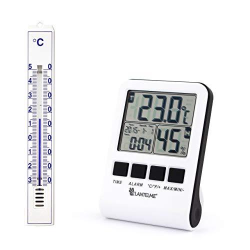 Lantelme 4387 Set Digital Maximum - Minimum - Thermometer und Hygrometer und Analogthermometer in weiß