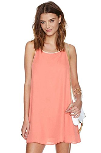 BOMOVO Damen Ohne Arm Halterneck Mini Kleid Slim Fit Rosa