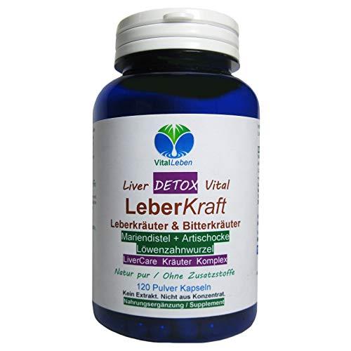 Leber Kraft Liver Care DETOX Vital Komplex Leberkräuter & Bitterkräuter 120 Kapseln Mariendistel + Artischocke + Löwenzahn NATUR pur OHNE Zusatzstoffe. 26525-1 -