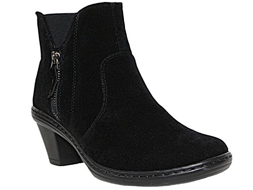 Cushion Walk Women's Black Low Wedge Ankle Chelsea Boots with Non-Slip Sole...