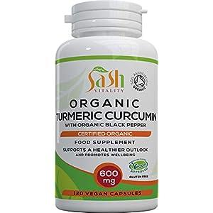 Sash Vitality Organic Turmeric Curcumin 1800mg High Strength Per Serving with Organic Black Pepper | Best Curcumin Absorption | 120 Vegan Capsules | SOIL ASSOCIATION Certified Organic | Non-GMO