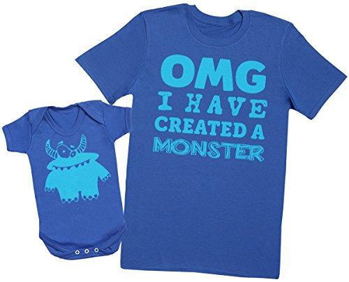 OMG I've Created a Blue Monster! - Passende Vater Baby Geschenkset - Herren T-Shirt & Baby Strampler / Baby Body