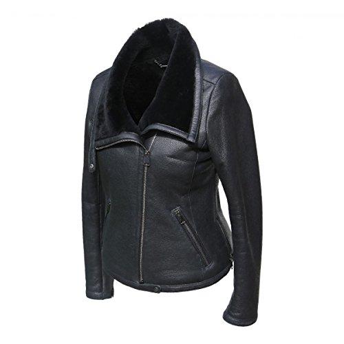 Lammfelljacke - POLA Damen Jacke Lederjacke Winterjacke Bikerjacke Merino Felljacke schwarz Size S - 2