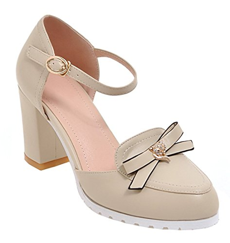 YE Damen Ankle Strap 7cm Chunky Heels Pumps mit Blockabsatz und Schleife Schnalle Rund Geschlossen süß Schuhe Beige