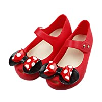 iFANS Girls Sweet Dot Bow Princess Mary Jane Flats for Toddler/Little Kid Red
