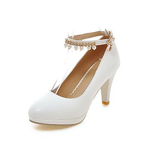 Inseridos Do Fivela Redondo Senhoras Dedo Material Bombas Brancos Macio Sapatos Pé Allhqfashion 0xBEwqwFnX