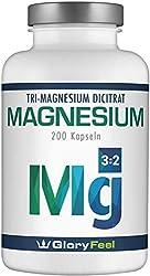 GloryFeel® Premium Magnesiumcitrat - Vergleichssieger 2019* - 2400mg davon 360mg elementares Magnesium pro Tagesdosis - 200 Hochdosierte Magnesium Kapseln - Laborgeprüft hergestellt in Deutschland