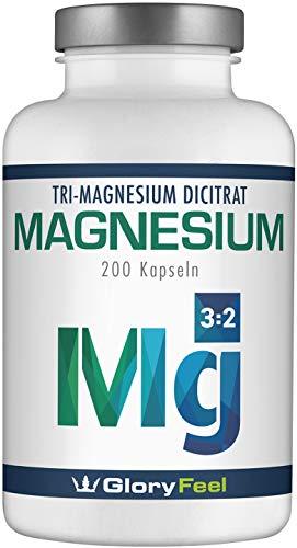 Magnesium VERGLEICHSSIEGER 2019* - 200 Kapseln Bestes Magnesiumcitrat 2250mg (360mg elementares Magnesium) pro Tag - Deutsche Markenqualität Laborgeprüft und Vegan Ohne Zusätze