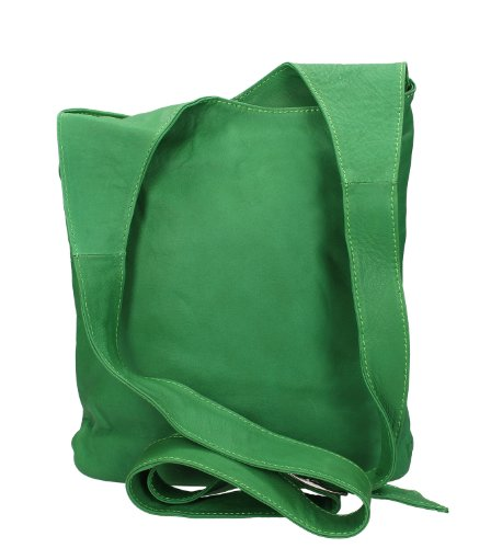 Ital. Croce borsa a tracolla per donna in nappa con scelta di colori 24,5x 28x 8,5cm (W x H x D) - GREEN