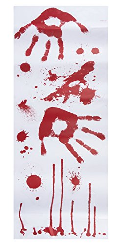 en Dekoration blutige Handabdrücke Aufkleber blutverschmiert Party, 2 Stück, Mehrfarbig (Handabdrücke Für Halloween)