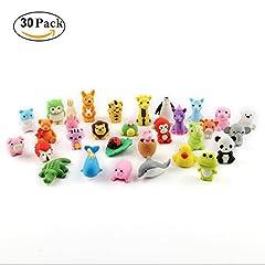 Idea Regalo - Cusfull Set di 30pcs Gomme da Cancellare a Forma di Animali per Bambini, Scuole, Alunni, cancelleria Scuola Giocattolo Creativa