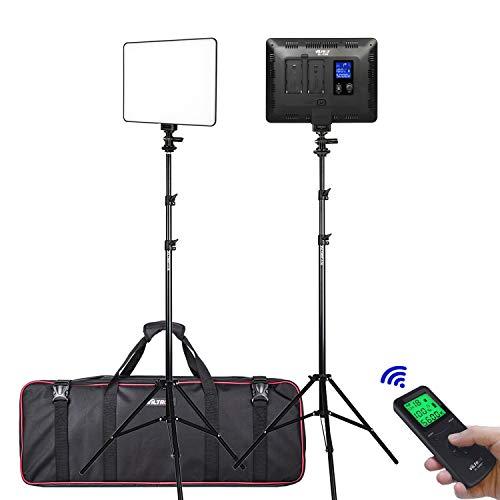 (2 Packs) VILTROX VL-200T Dimmbare LED Video Studio Beleuchtung Kit beinhaltet: 3300K-5600K 30W Bi-Color LED Light Panel mit Blitzschuh Adapter/Light Stand/Fernbedienung und Netzteil Studio-beleuchtung