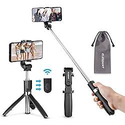 ELEGIANT Perche Selfie, Selfie Stick Bluetooth Trépied Bluetooth Bâton de Selfie Monopode Réglable Télescopique 3 en 1 Extensible de Poche 360° Rotation pour Iphone X 8 7 Samsung Sony Huawei