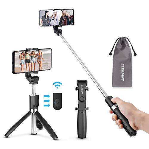 ELEGIANT Bastone Selfie Wireless, Asta Selfie Bluetooth con Treppiede Asta Estendibile per 2,2-3,7 Pollici iPhone XS Max XR x 8s Samsung Galaxy s10 s8 Huawei P30 P20 Mate PRO HTC LG Nota Nokia ECC