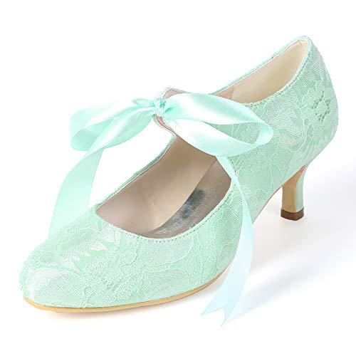 Moojm Schuhe Womens, High Heels Round Toe 6cms Stiletto Silk Front Tie ()
