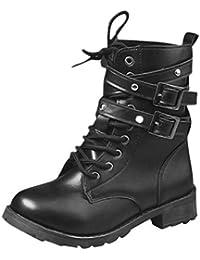 Botines cuña Tacón de Ancho Altas para Mujer Otoño Invierno 2018 Moda PAOLIAN Botas Militares Botines Biker Militares Plataforma Casual Zapatos…