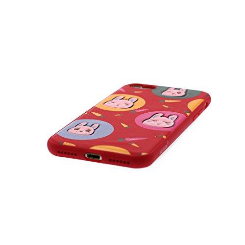 iPhone 7 Plus Custodia, Gel TPU Soft flessibile protettivo indietro leggero Case Cover Skin Bumper iPhone 7 Plus Copertura, Graffi Prova & elegante ( Cartoon Shell coniglio carota ) rosso 1