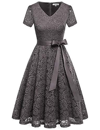 GardenWed Damen Elegant Kleider Spitzenkleid Knielang Rockabilly Kleid Cocktailkleid Abendkleider...