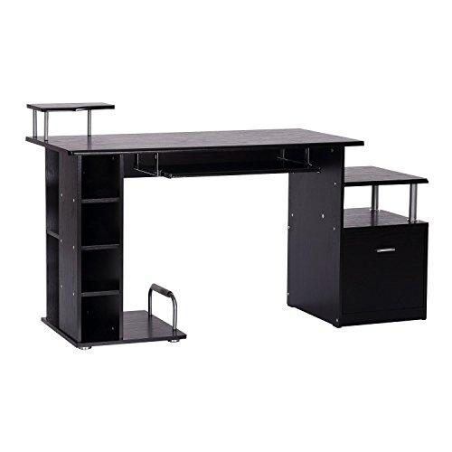 Homcom scrivania per computer scrivania ufficio porta pc con ripiani tastiera 152 x 60 x 88cm nero