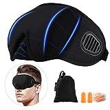 PRETTY SEE Schlafmaske Premium 3D konturierte komfortabler Augenmaske Augenbinde 100% Blackout und Verstellbarem Gummiband Inklusive Ohrstöpsel Reise unerlässlich Schwarz
