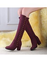 Desy zapatos sintética de la mujer otoño invierno comodidad botas de cuña talón ronda Toe Casual Color Negro Azul Borgoña, granate