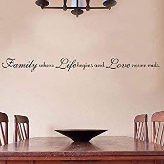 Wall Decal for Bedroom Love Decor-Family Where Life Begins and Love Never Ends l-Religious Quote Decal Murals(X-Large) Wall Sticker Design Decorations