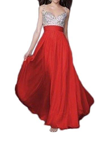 Bigood Robe de Soirée Femme Sans Manche Mariage Demoiselle d'Honneur Cérémonie Longue Rouge