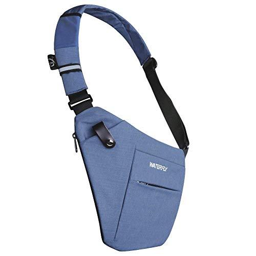 1b2d4d23980c DEKINMAX Mochila Bandolera Hombre Bolsa de Pecho Pequeña Casual Portatil  Deportes Mochila Trabajo (Azul)