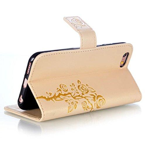 iPhone Case Cover Riemen Lanyard Kunststoff PU Ledertasche Folio Geldbörse mit Kartenschlitzen Magnetverschluss Geprägte Blumen Muster Fall Deckung für iPhone 6S 6 ( Color : Black , Size : IPhone 6 6S Gold